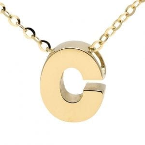 "Yellow gold ""C"" 3D block initial pendant necklace suspended from gold cable chain"