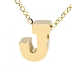 "Yellow gold ""A"" 3D block initial pendant necklace suspended from gold cable chain"