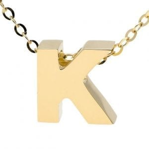 """Yellow gold """"A"""" 3D block initial pendant necklace suspended from gold cable chain"""