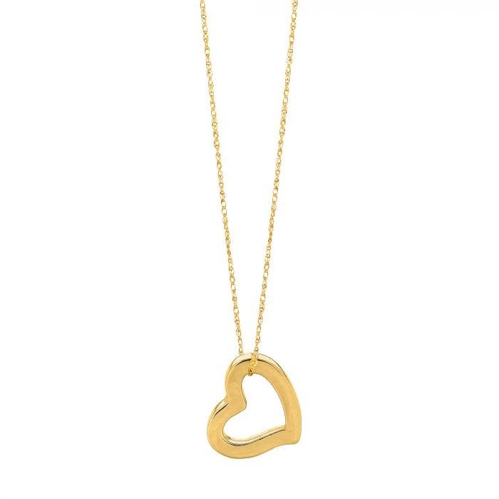 Heart Charm Necklace in 14k Yellow Gold