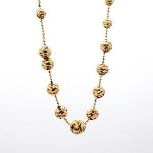 Graduated Diamond Cut Beaded Necklace in 14k Yellow Gold