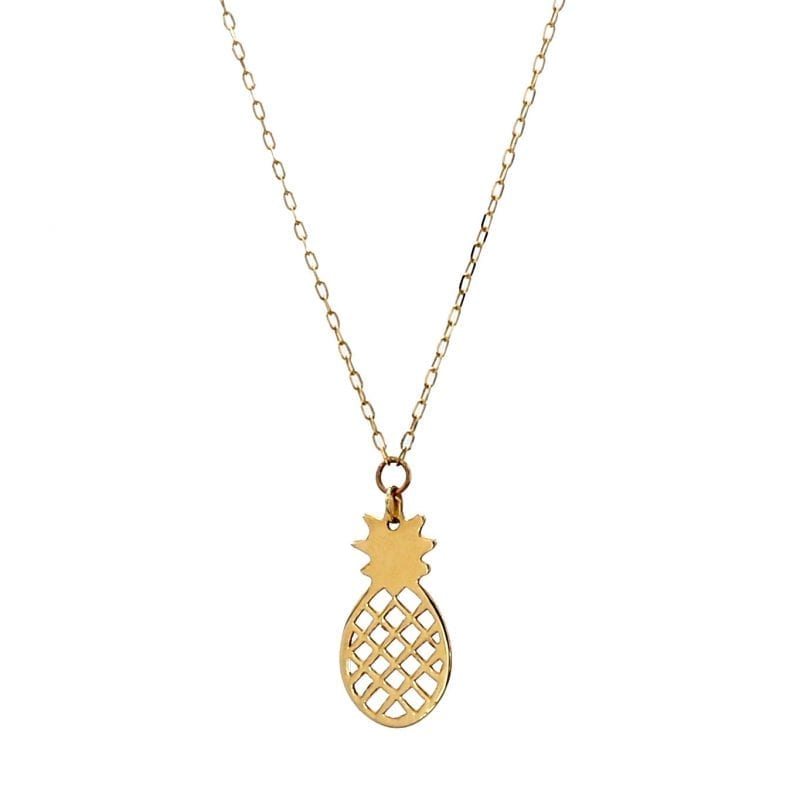 Pineapple Pendant Necklace in 14k Yellow Gold