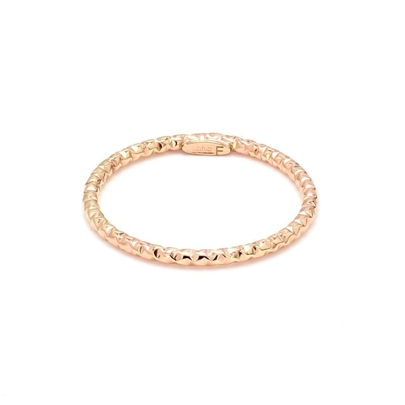 Front view of ring. A thin, rose gold band is detailed with a diamond cut texture all around the band.