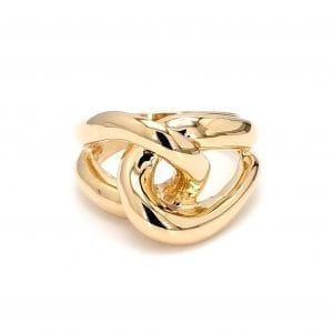Front view of ring. A polished yellow gold shank splits off into two loops that interlock creating a love knot motif in the front of the ring.
