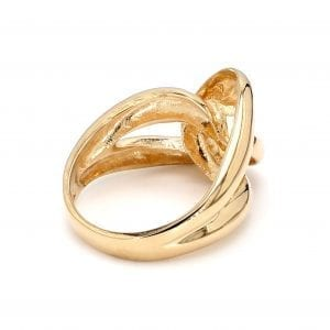 135 degree angle of ring. A polished yellow gold shank splits off into two loops that interlock creating a love knot motif in the front of the ring.