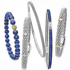 silver and blue bracelets
