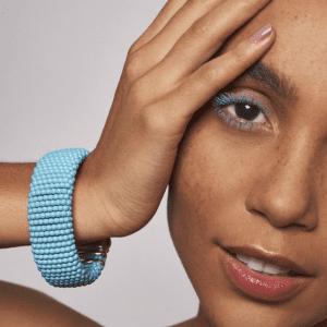 turquoise bracelet on model