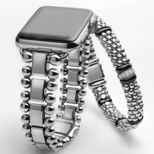 silver smartwatch band and silver bracelet