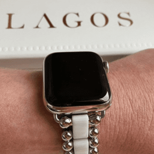smartwatch with white and silver band