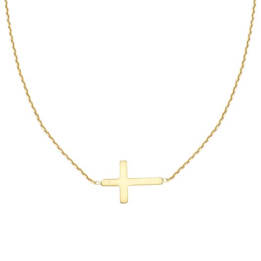 Mini Sideways Cross Necklace