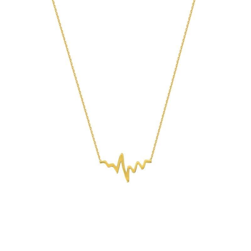 14k Gold Heartbeat Necklace Heartbeat Design Necklace