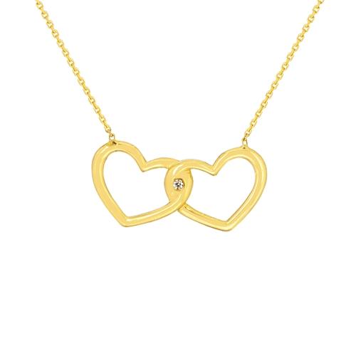 Interlocking Heart Necklace in 14k Yellow Gold