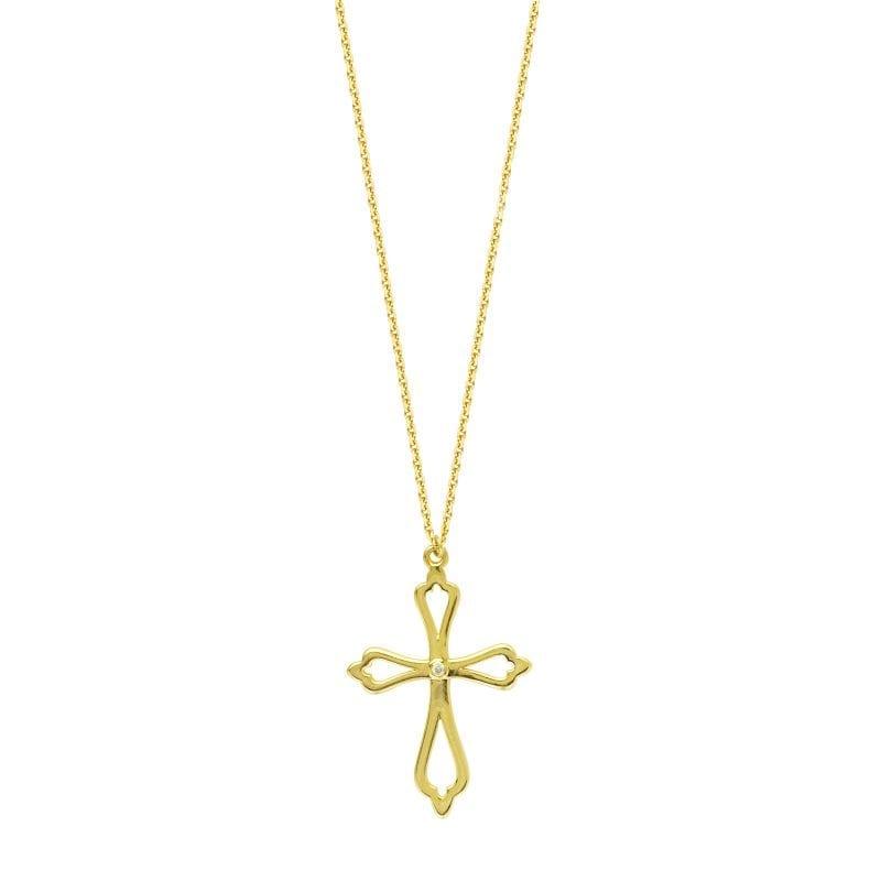 Diamond Accent Open Cross Pendant in 14k Yellow Gold