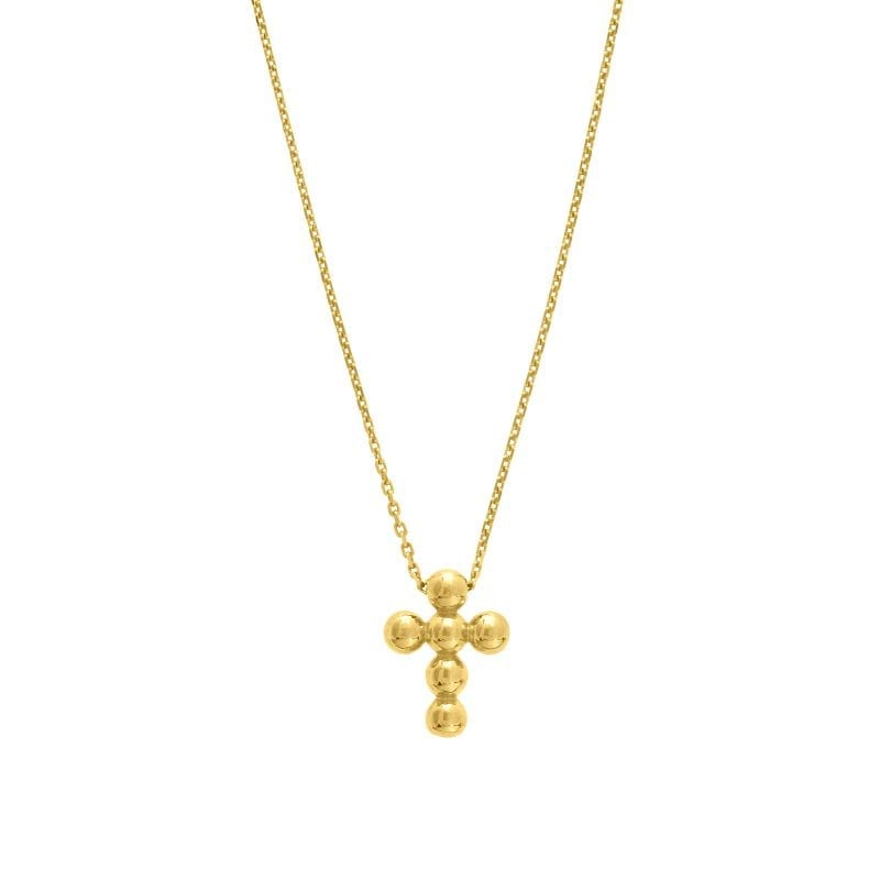 Beaded Cross Necklace in 14k Yellow Gold