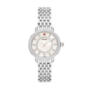 Michele Sidney Classic Stainless Steel Diamond Complete Watch