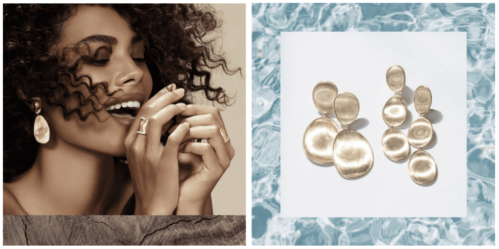 Image on the left is a woman wearing gold Marco Bicego Lunaria drop earrings and image on the right are close ups of the gold Marco Bicego Lunaria drop earrings