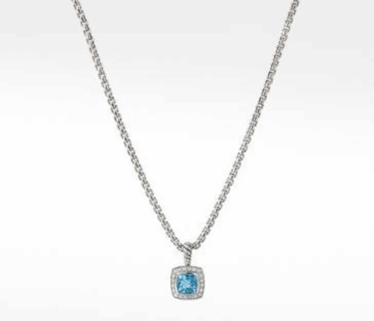 David Yurman Pendant Necklace with Blue Topaz and Diamonds, 17 IN