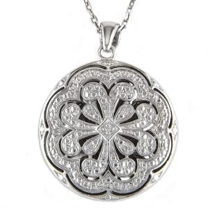 Sterling Silver and Diamond Flower Locket Pendant Necklace