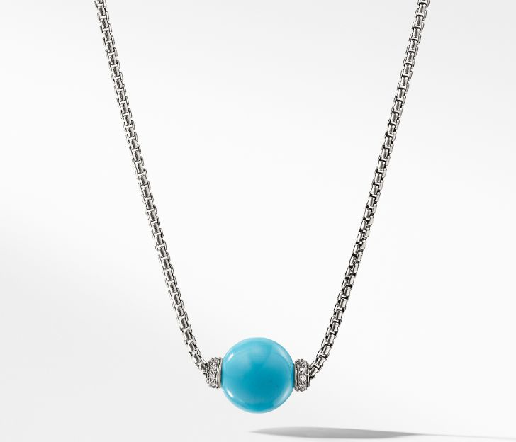Solari Pendant Necklace with Diamonds and Reconstituted Turquoise