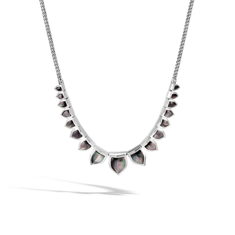 John Hardy Sterling Silver Legends Naga Mini Chain Necklace with Grey Mother of Pearl