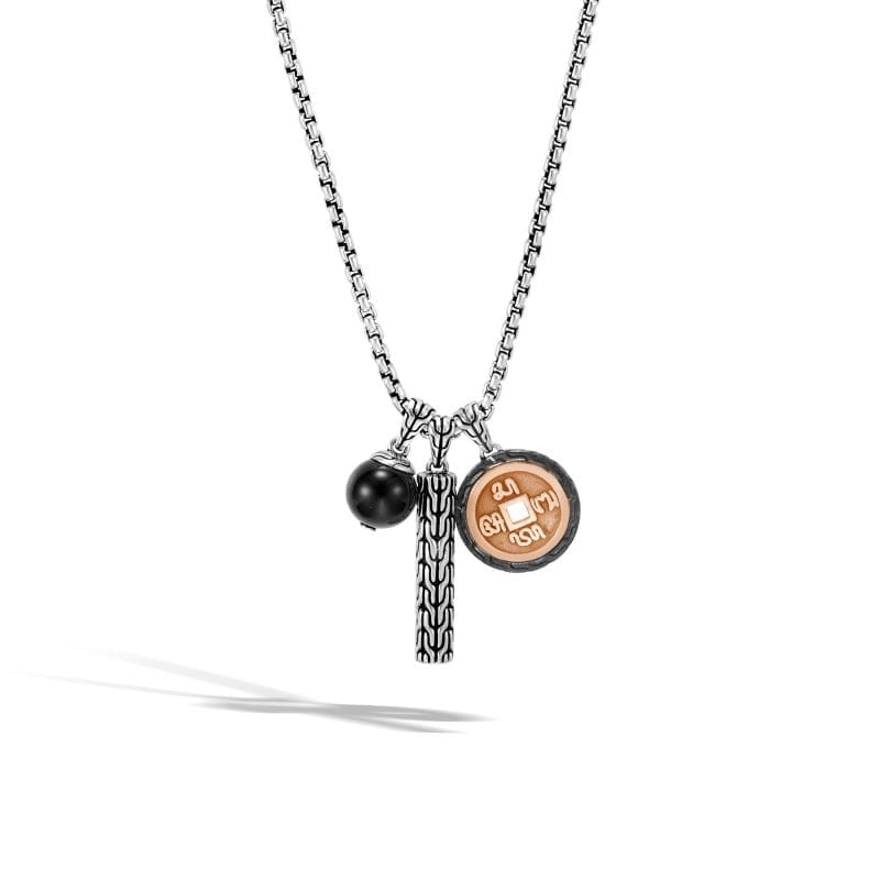 John Hardy Men's Sterling Silver and Bronze Classic Chain Charm Pendant