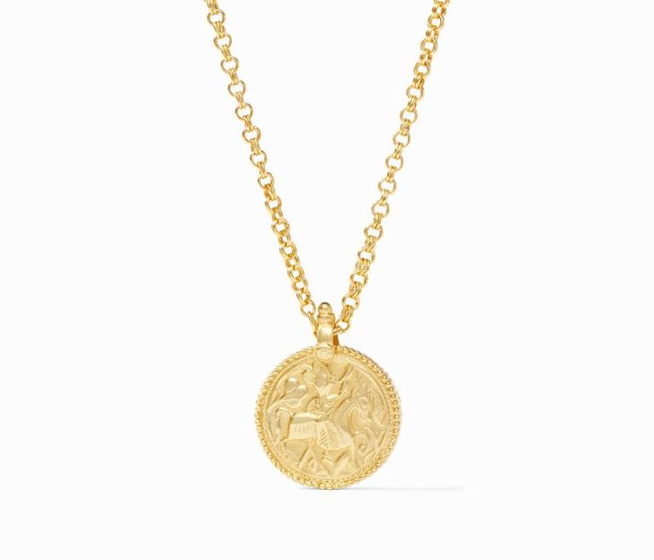 Julie Vos 24kt Yellow Gold Plate Coin Pendant Necklace