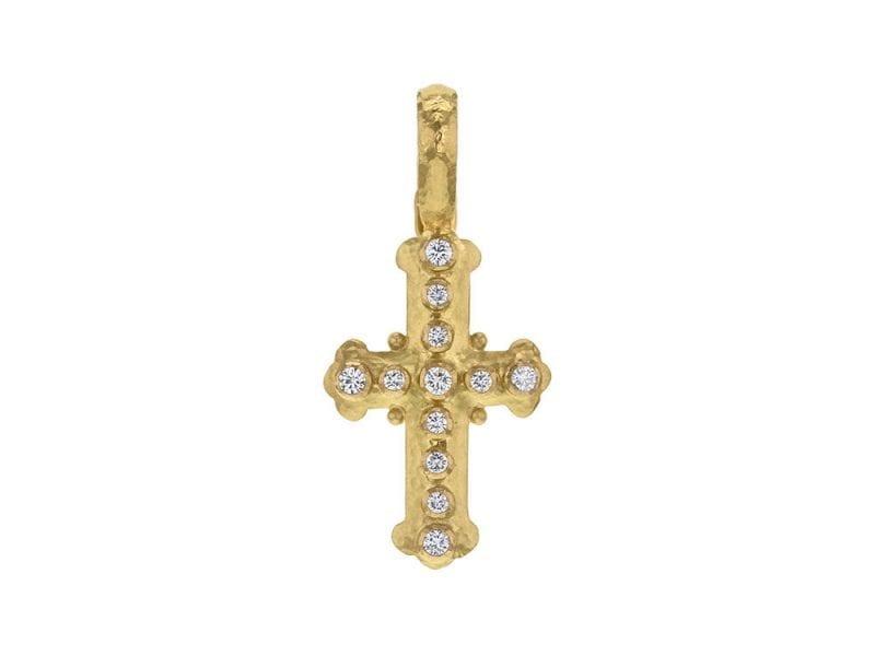 Elizabeth Locke Small Byzantine Cross Pendant with Diamonds in 19k Yellow Gold
