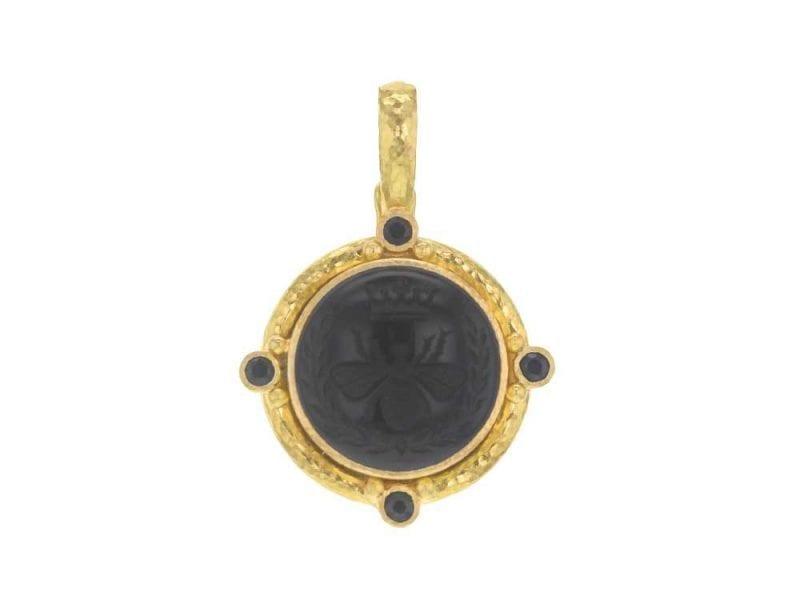 Elizabeth Locke 19kt Yellow Gold 'Queen Bee' Pendant in Black Onyx