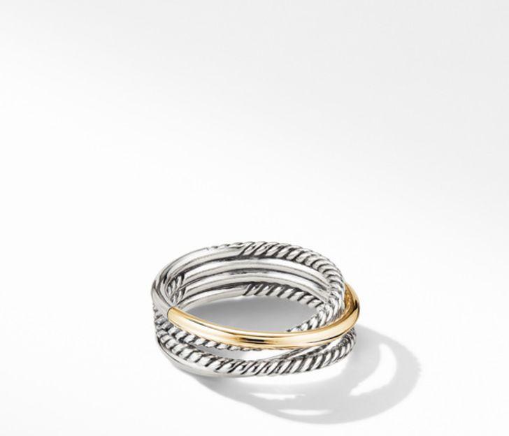 David Yurman Crossover Narrow Ring with 18K Yellow Gold, Size 7