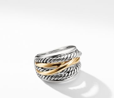 David Yurman Crossover Wide Ring with Gold, Size 7