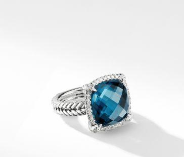David Yurman Chatelaine Pave Bezel Ring with Hampton Blue Topaz and Diamonds, 14mm, Size 7