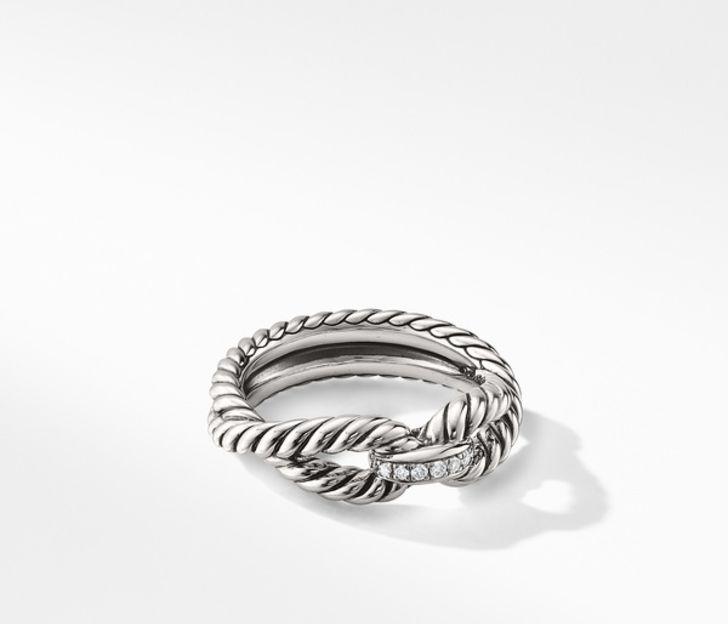 David Yurman Cable Loop Ring with Diamonds, Size 5