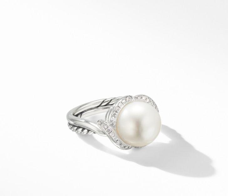 David Yurman Continuance Pearl Ring with Diamonds, Size 6