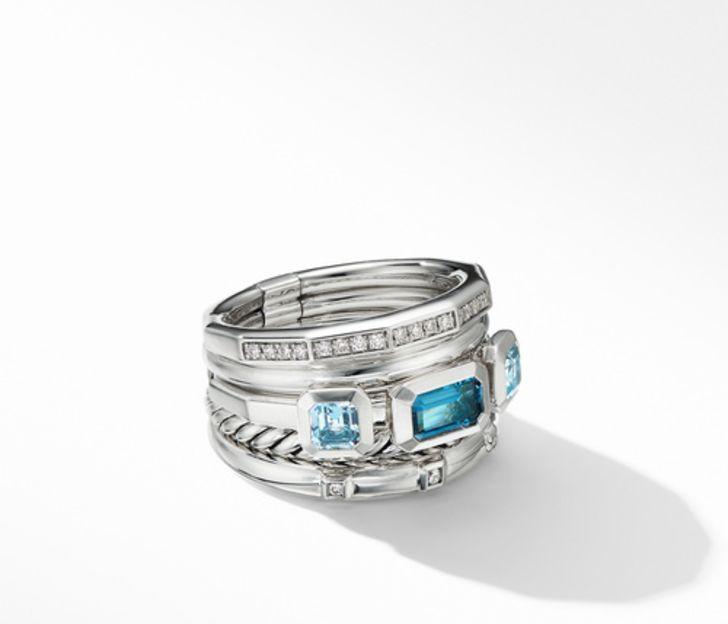 David Yurman Stax Wide Ring with Hampton Blue Topaz and Diamonds, Size 7