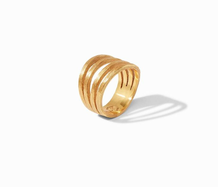 Vertical view of ring. A textured, gold plated shank splits off into four bands along the front half of this ring.