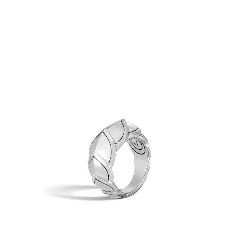 45 degree angle of ring. Scaled motifs of sterling silver are outlined with black details and overlap each other to form this band.