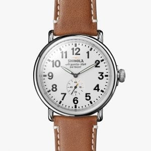 Shinola Runwell 47mm Watch with White Dial and Brown Leather Strap