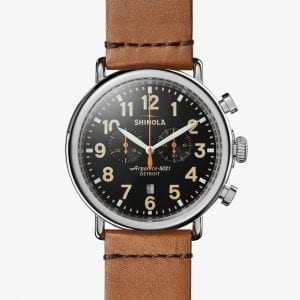 Shinola Runwell Chronograph 47mm Watch with Black Dial and Brown Leather Strap