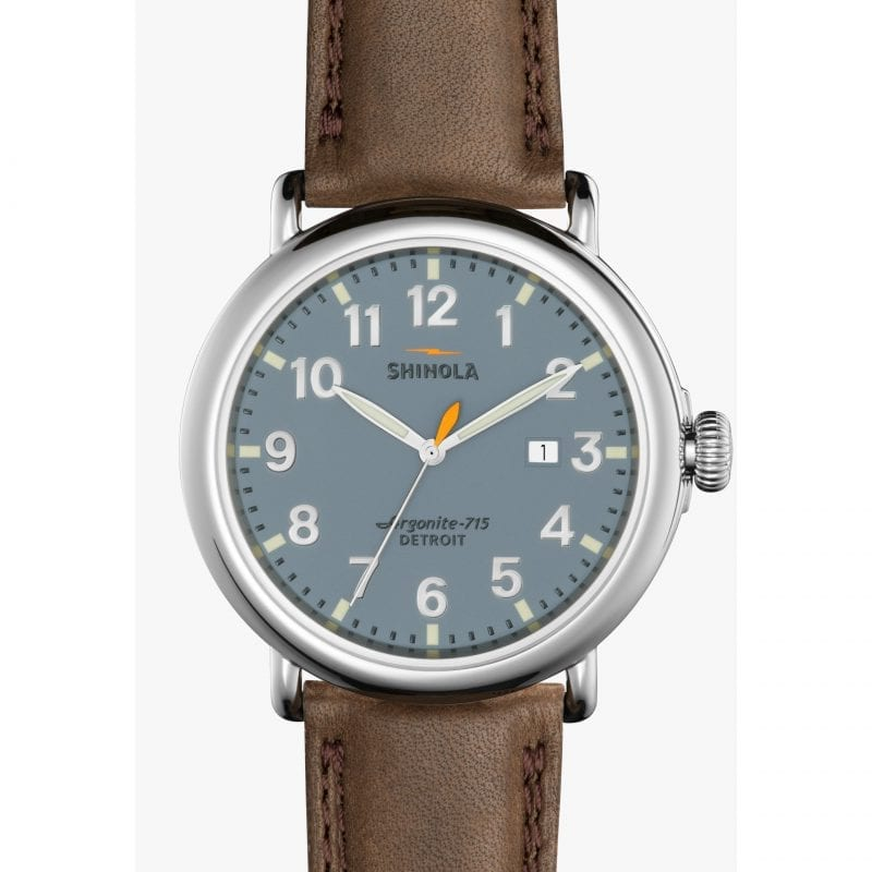 Shinola Runwell 47mm Watch with Slate Dial and Deep Brown Leather Strap
