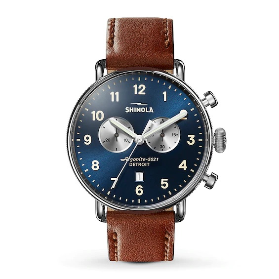 Shinola Canfield Chronograph 43mm Watch with Navy Dial and Dark Cognac Leather Strap