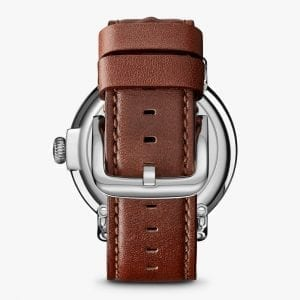 Shinola Runwell 47mm Watch with Cool Gray Dial and Dark Cognac Leather Strap