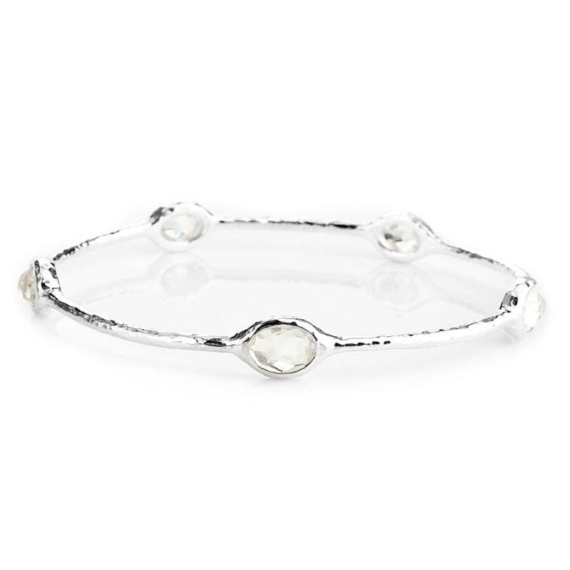 Ippolita Sterling Silver Rock Candy 5-Stone Bangle in Clear Quartz
