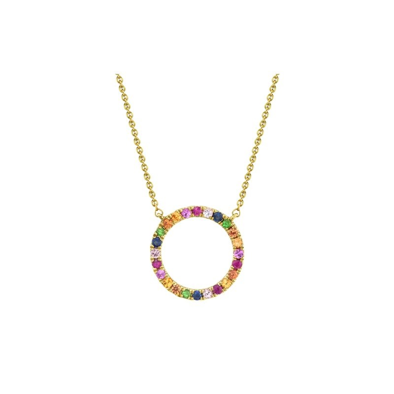 Bailey's Goldmark Collection Rainbow Circle Pendant Necklace in 14k Yellow Gold