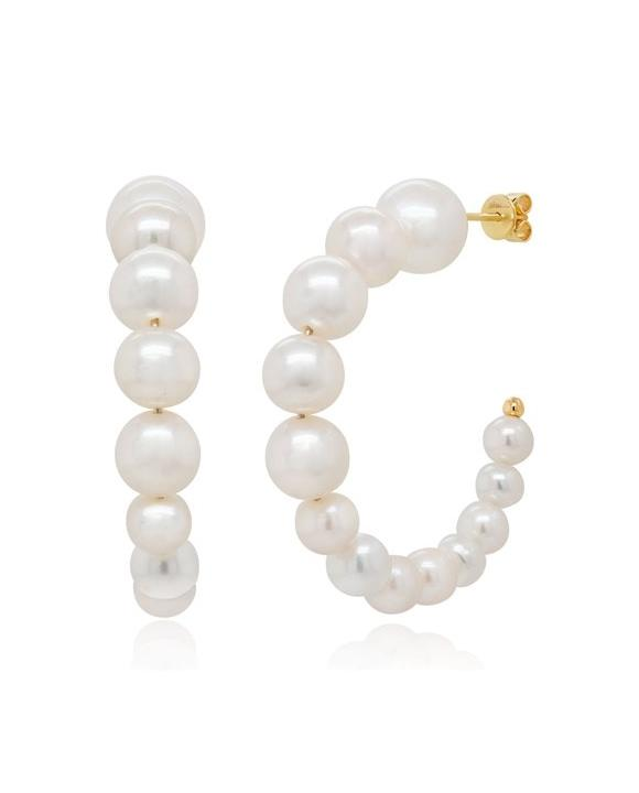 Bailey's Icon Collection Pearl Hoop Earrings in 14k Yellow Gold