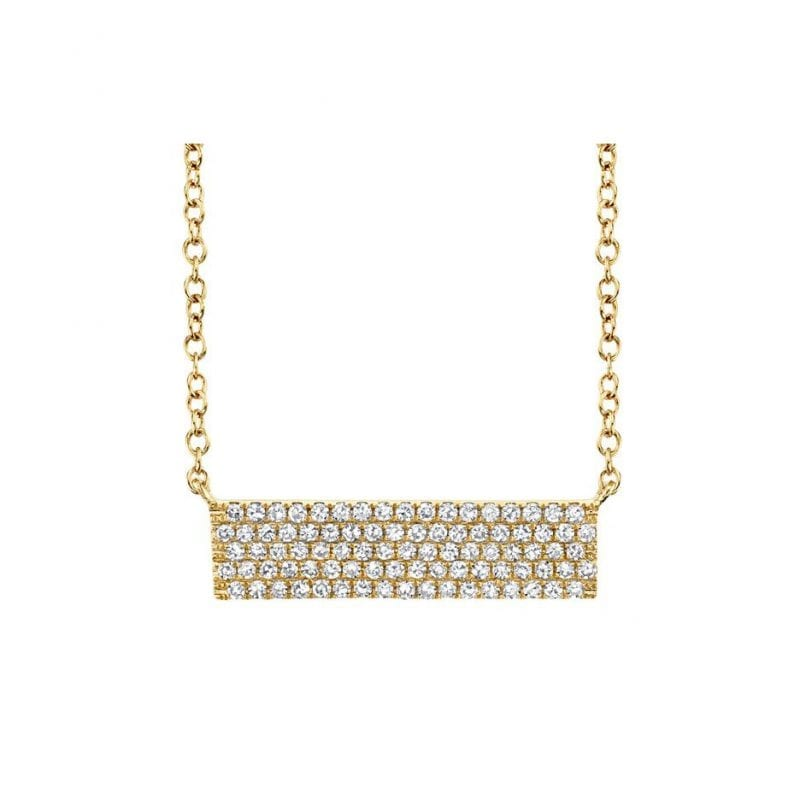 Diamond Pendant Bar Necklace in 14kt Yellow Gold