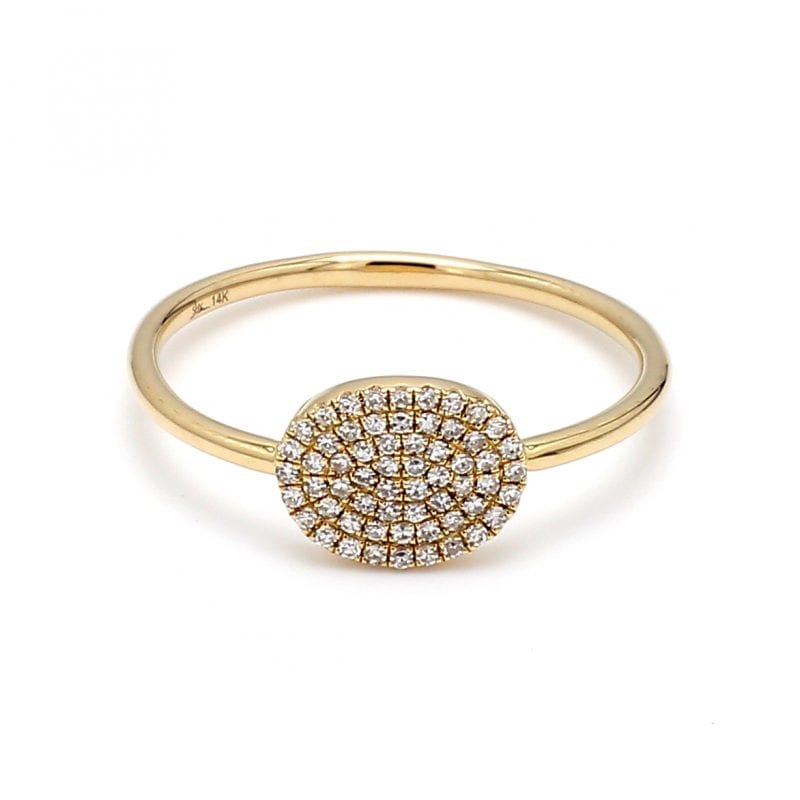 Front view of ring. Pave diamonds accent an oval face attached to a simple, thin yellow gold shank.