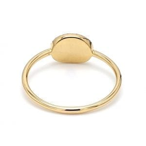 Back view of ring.A thin, unadorned shank is attached to a polished yellow gold face.
