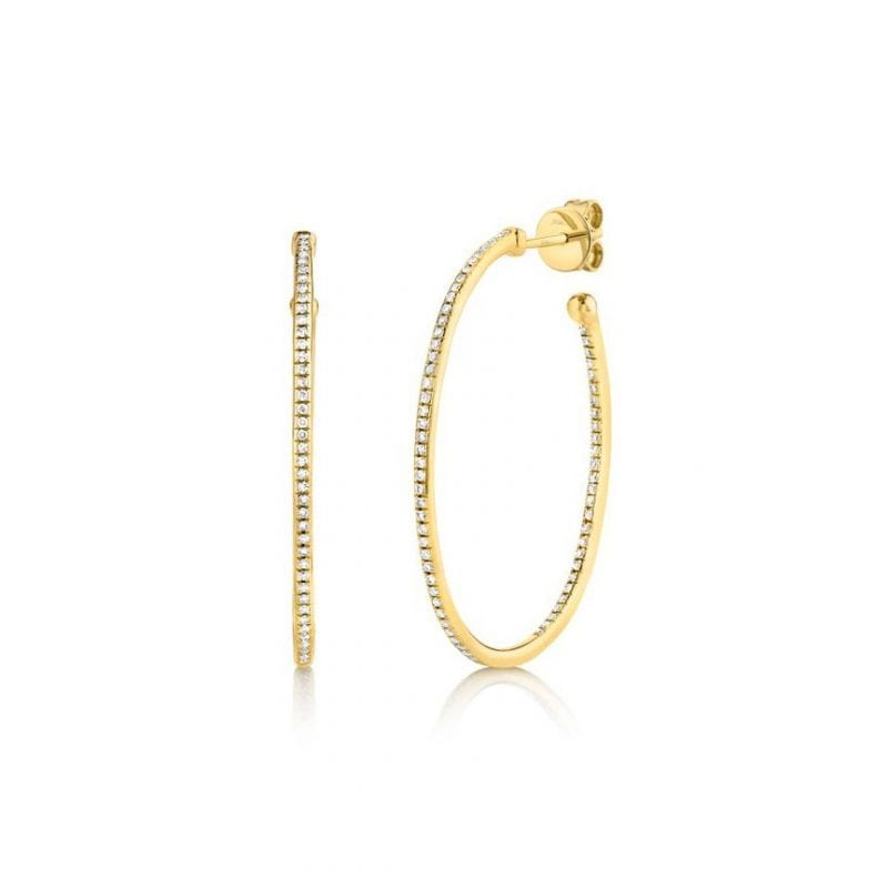 Oval Diamond Hoops in 14kt Yellow Gold