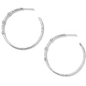 Ippolita Stardust Hammered Hoop Earrings in Sterling Silver with Diamonds