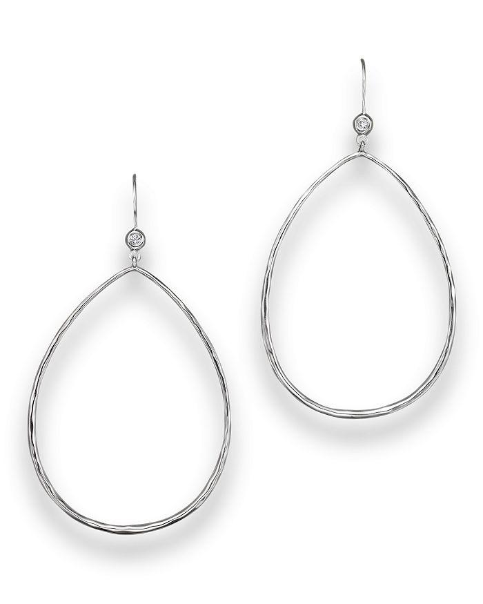 Ippolita Sterling Silver Open Teardrop Earrings with Diamonds
